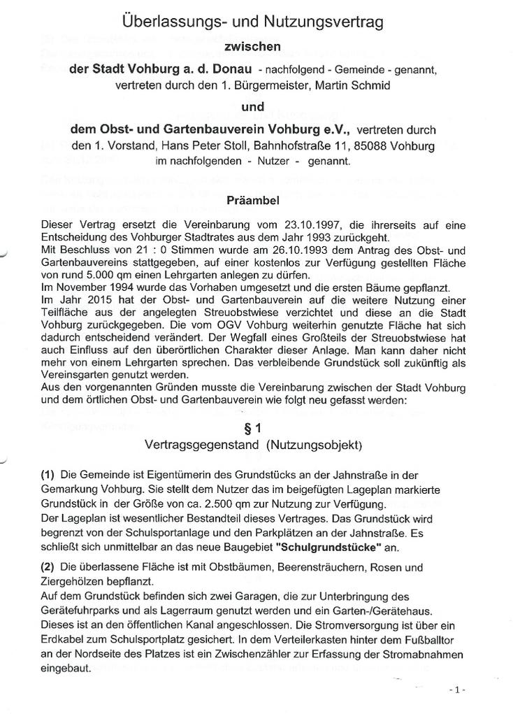 Der Nutzungsvertrag zwischen Stadt und Verein regelt die Verhältnisse um den Lehrgarten an der Jahnstraße