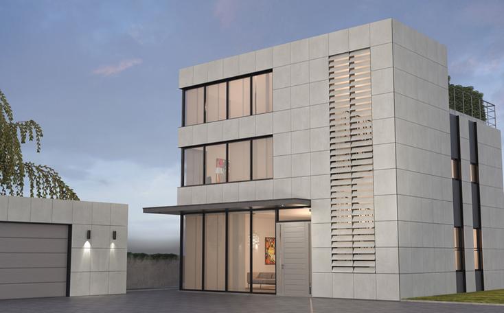 Gewerbehaus mit Wohnung, BIPV-Module v3, suncol, KA-System