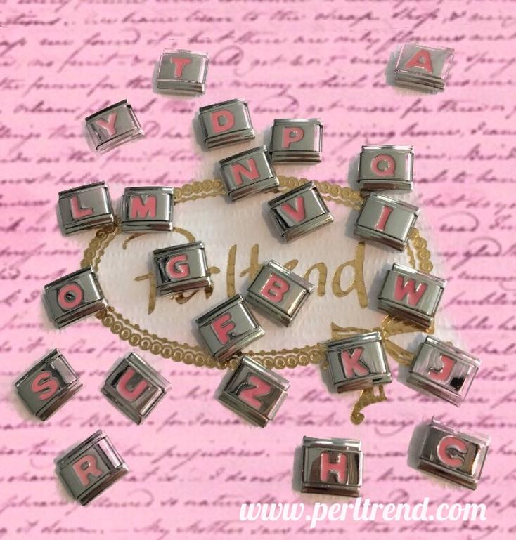 www.perltrend.com charm armband schmuck module buchstaben rosa