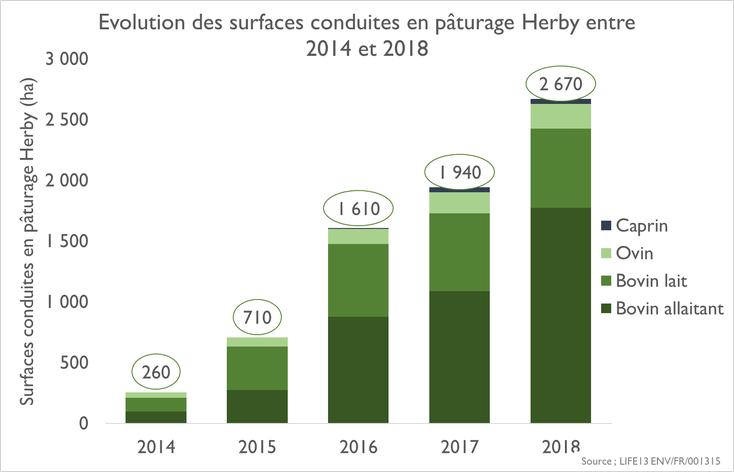 Évolution des surfaces conduites en PTD Herby®