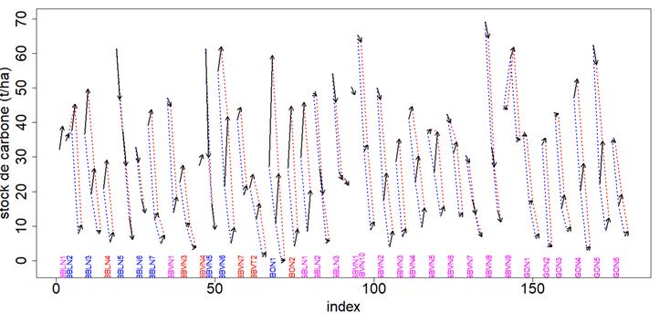 Évolution des stocks de carbone par horizon et par parcelle aux instants t1 et t2