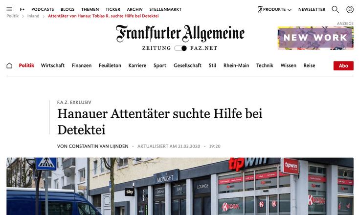 Hanau-Attentat; Detektei Kurtz, Kurtz Detektei Frankfurt, Tobias R., Privatdetektiv Frankfurt am Main