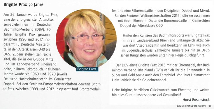 Badminton Sport Zeitschrift Gratuliert Brigitte Prax Sv Unkels