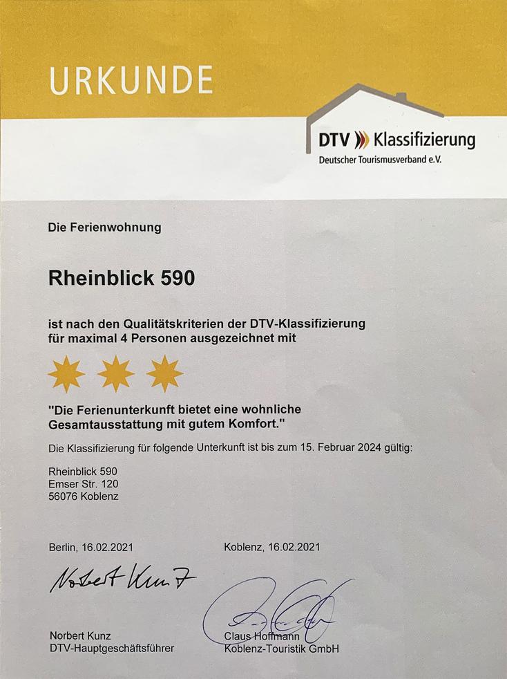Bild: Ferienwohnung Koblenz RheinBlick590, Klassifizierungsurkunde des Deutschen Tourismusverband