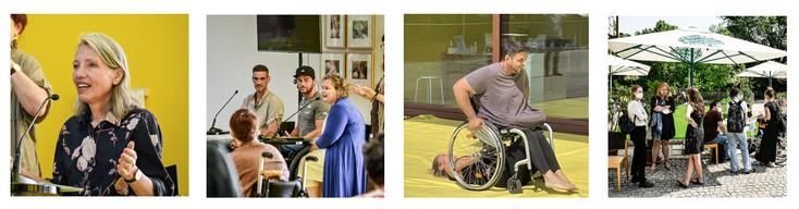 4 verschiedene Szenen aus der Veranstaltung mit den Akteur*innen von Belvedere21, Österreichischer Alpenverein und MAD.
