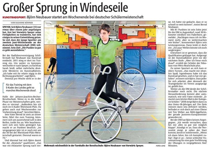 Aus der Rheinpfalz, Speyerer Ausgabe, vom 7. Juni 2017. Foto. Lenz