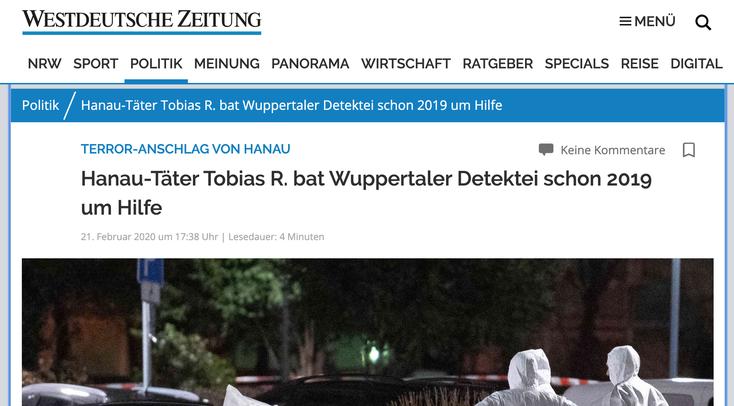 Hanau-Attentat, Tobias Rathjen; Detektei Wuppertal, Detektiv Wuppertal, Kurtz Detektei Wuppertal