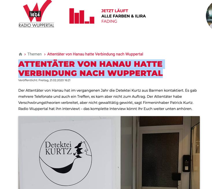 Hanau-Attentat, Hanau-Attentäter; Kurtz Detektei Wuppertal, Detektiv Wuppertal, Detektei Barmen