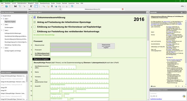 ElsterFormular的介面…跟一個PDF其實有什麽分別呢?(ElsterFormular介面截圖)