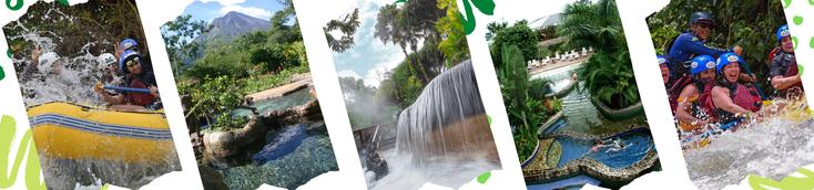 Las 3 actividades preferidas por los visitantes, tour de un dia Canopy Rafting y Aguas Termales