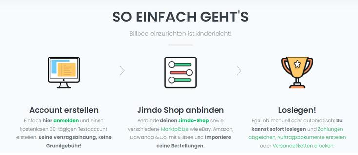 Wie wird der Jimdo Shop verbunden?