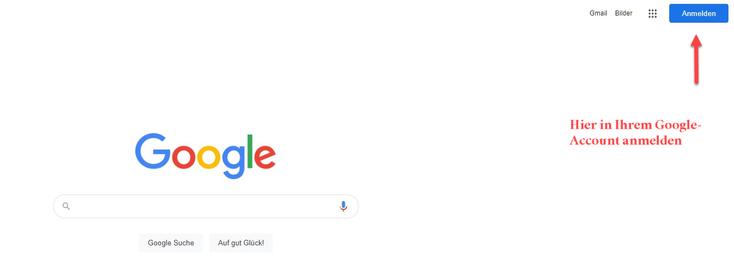 Anmeldung im Google Account
