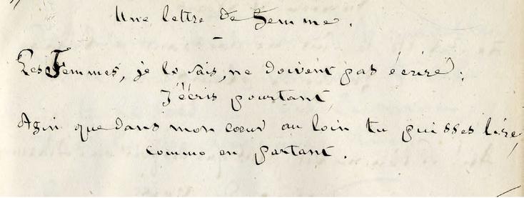 """Marceline Desbordes-Valmore, """"Une lettre de femme"""", 1860. Manuscrit."""