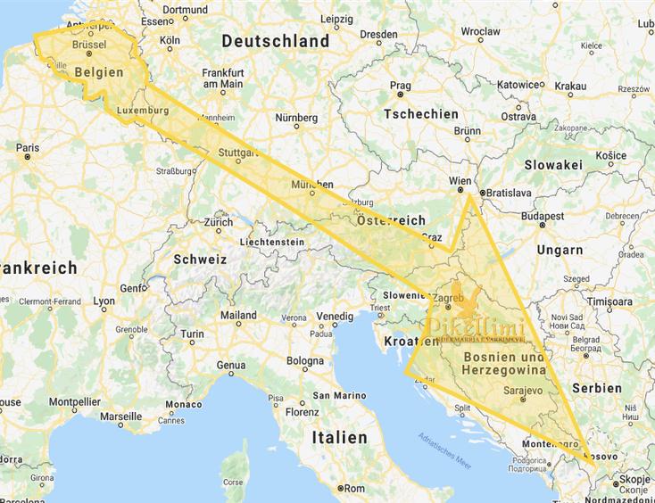 Leichentransport aus Belgien  nach Kosovo, Mazedonien, Albanien, Monte Negro, Presevo Tal, Sanxhak