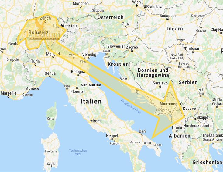 Leichentransport aus der Schweiz - Kosovo, Mazedonien, Albanien, Monte Negro, Presevo Tal, Sanxhak