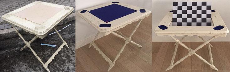 Restauración mesa de juego plegable en madera de haya