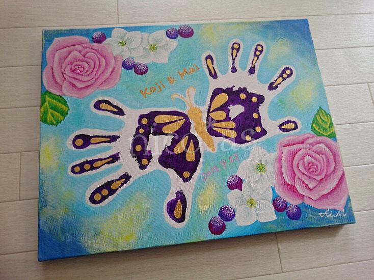 手形アート、夫婦、蝶、バラ、結婚記念日