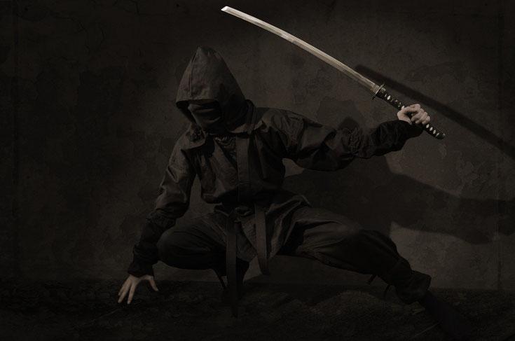 Ein Ninja in Schwarz gekleidet kniet auf dem Boden vor einer Wand. In seiner linken Hand hält er ein Schwert erhoben.