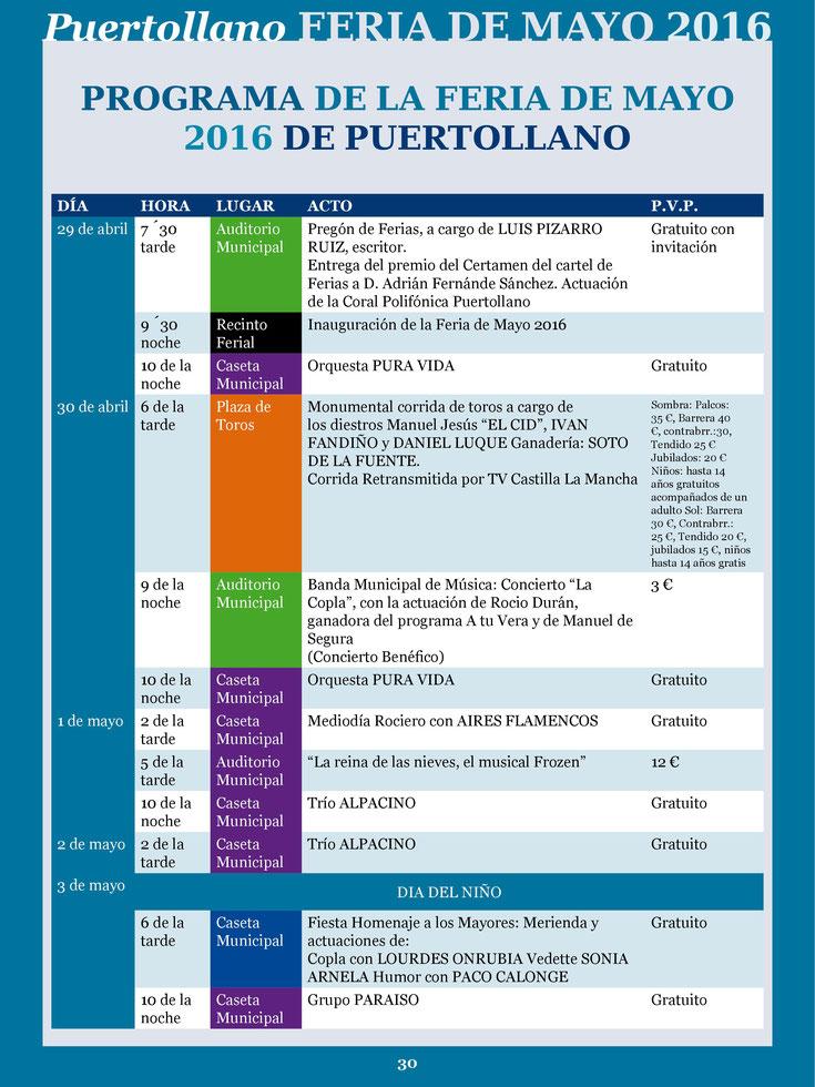 Programa de las Ferias de Mayo en Puertollano