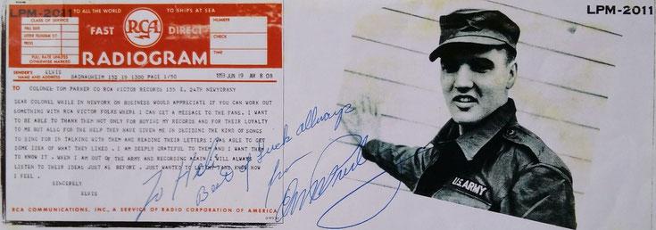 Autogramm und Gruß von Elvis für Heli von Westrem, vormals Heli Priemel, Digitale Leihgabe, Online-Museum Bad Nauheim