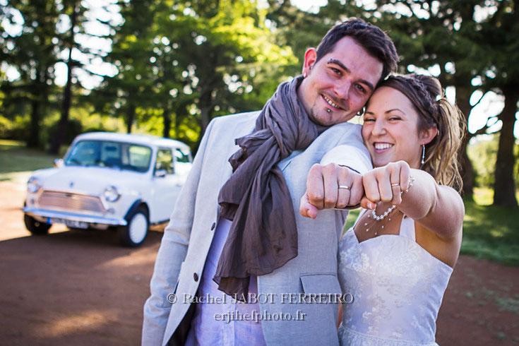 mariage, mariage champêtre, mariage en voiture ancienne, mariage en mini, rachel jabot ferreiro, erjihef photo