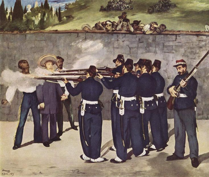 Édouard Manet, L'esecuzione dell'imperatore Massimiliano, olio su tela, 1868 in wikipedia