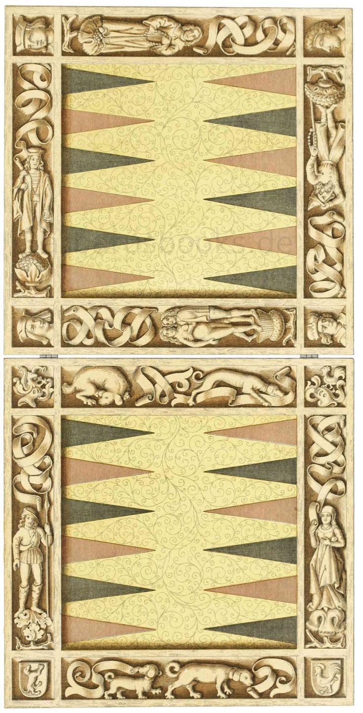 Brettspiel aus Holz aus dem Ende des 15. Jahrhunderts.