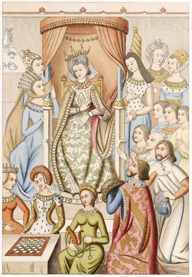 Französische Trachten aus dem 15. Jahrhundert, gezeichnet von Karl Regnier nach einer Gruppe aus den gewirkten Tapeten.