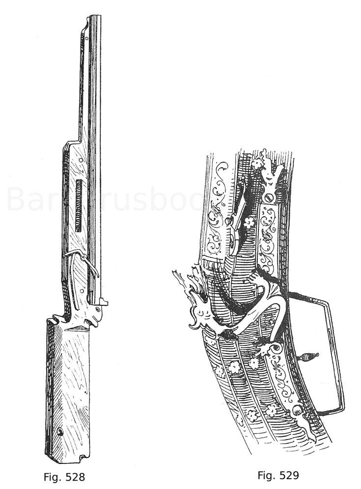 Fig. 528. Handbüchse. Der Bronzelauf besitzt ein Absehen, der deutsche Schaft besteht aus Lindenholz, der leider verstümmelte Luntenhahn wird durch einen Druck des Daumens auf eine Feder bewegt. Deutsch um 1510. Fig. 529. Luntenschnapphahnschloss mit Züng