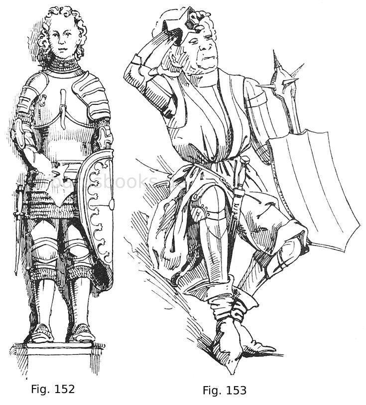 Der Roland von Ragusa. Steinskulptur von 1423. Die geschiftete Plattenbrust hat noch die Form des Lentners. Italienisch. Nach einer Zeichnung des Verfassers.