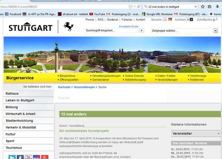 Auch die Stadt Stuttgart selber hat uns ins Programm genommen