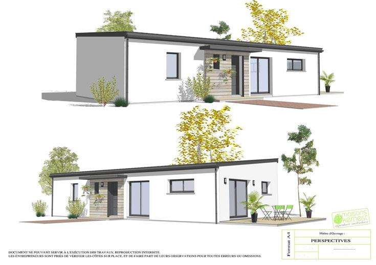 maison moderne plain pied avec toit monopente et enduit blanc