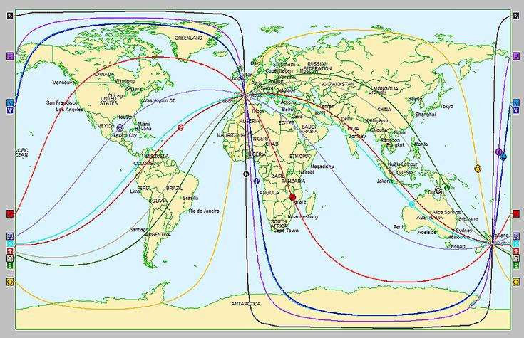 Espacio local o mapa del acimut