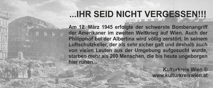 Kulturkreis Wien Günther W. Wachtl Philipphof Kriegsopfer Weisses Kriegskreuz Albertina Wien 12 März 1945letzter Bombenangriff von amerikanern