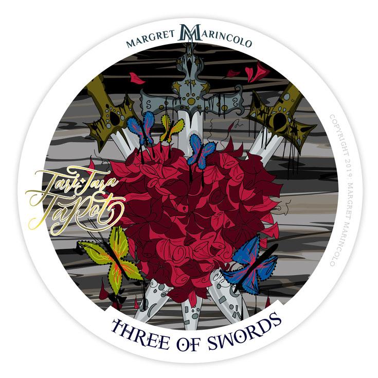 die Drei der Schwerter im Tarot für die Liebe und für den Beruf