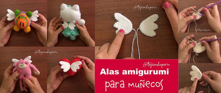 Alas amigurumi para muñecos tejidos