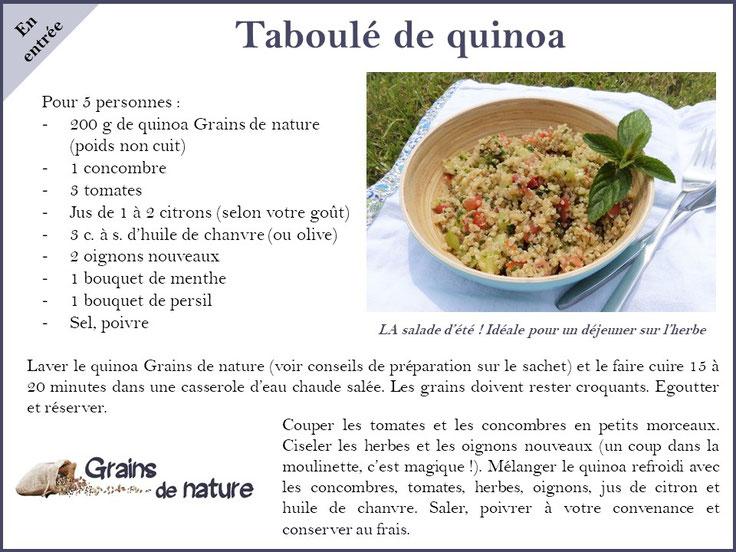 Quinoa grains de nature produit dans l'Aube France, concombres, tomates, menthe...