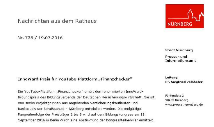 Pressemitteilung des Presseamts der Stadt Nürnberg (Screenshot vom 20.07.2016)