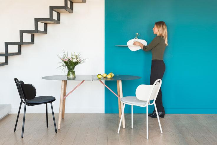 Chaises SWIM - Table à manger AMARYLLIS - Étagère SURFACE (design Ferréol Babin)