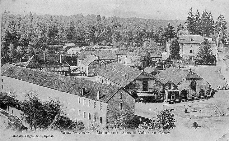 Vue générale de la Manufacture de Bains-les-Bains, carte postale, vers 1900. (c) Municipalité de LVLB