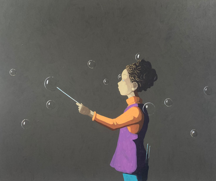 needles and bubbles - Acryl auf Leinwand, 100x120cm, 2021