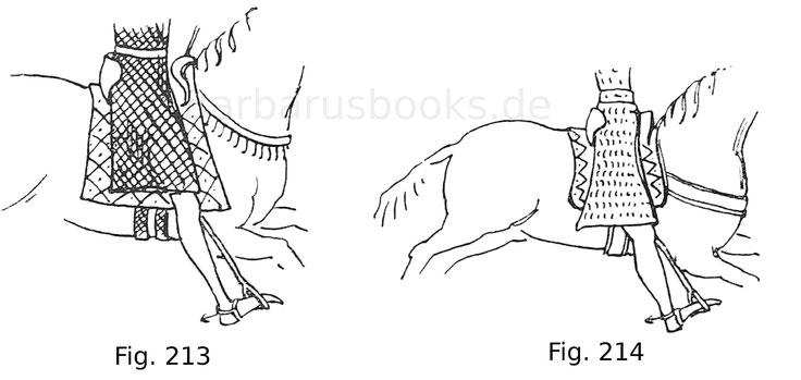 Fig. 213. Aus dem Reitersiegel des Philipp d'Alsace, Grafen von Flandern. 1170. Nach Demay, Le costume au moyen-âge d'après les sceaux. Fig. 214. Aus dem Reitersiegel des Pierre de Courtenay von 1184. Nach Demay.