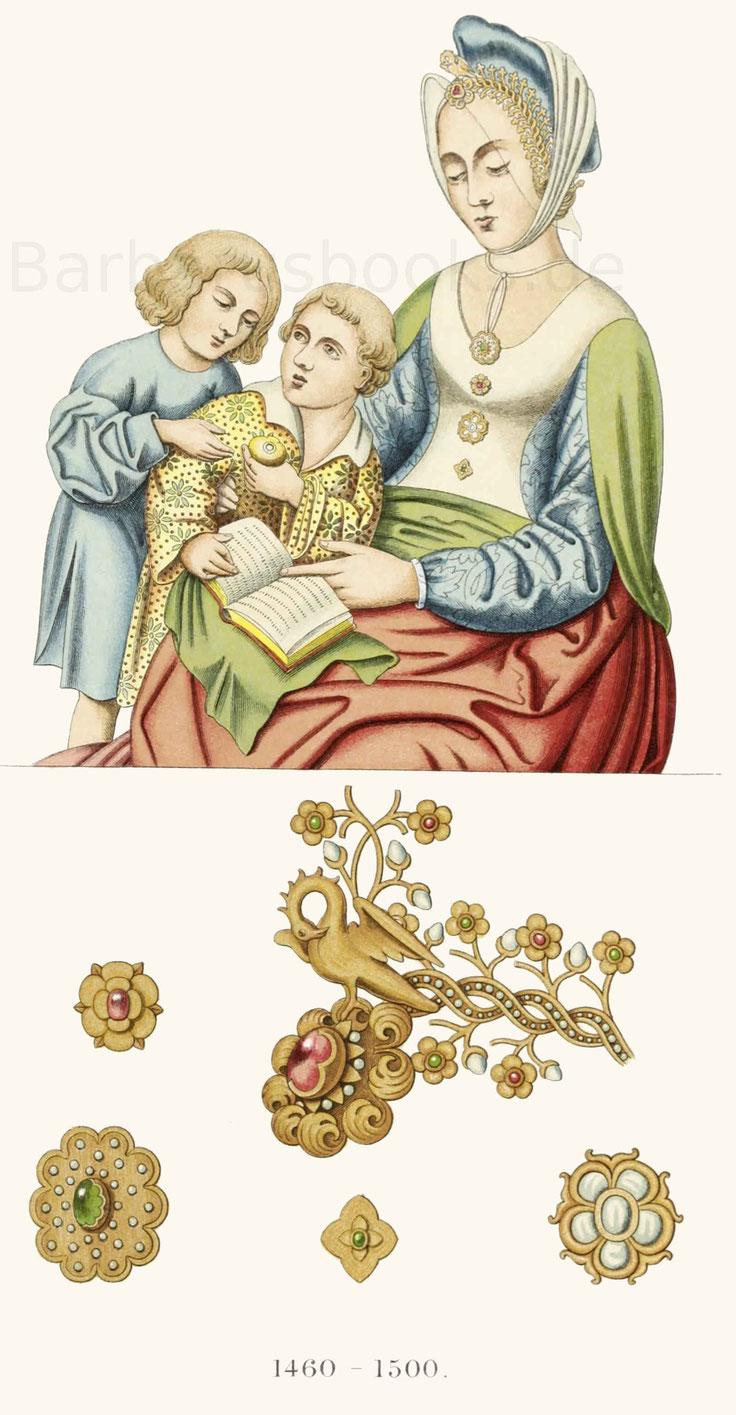 Frauen- und Kindertracht aus der zweiten Hälfte des 15. Jahrhunderts.