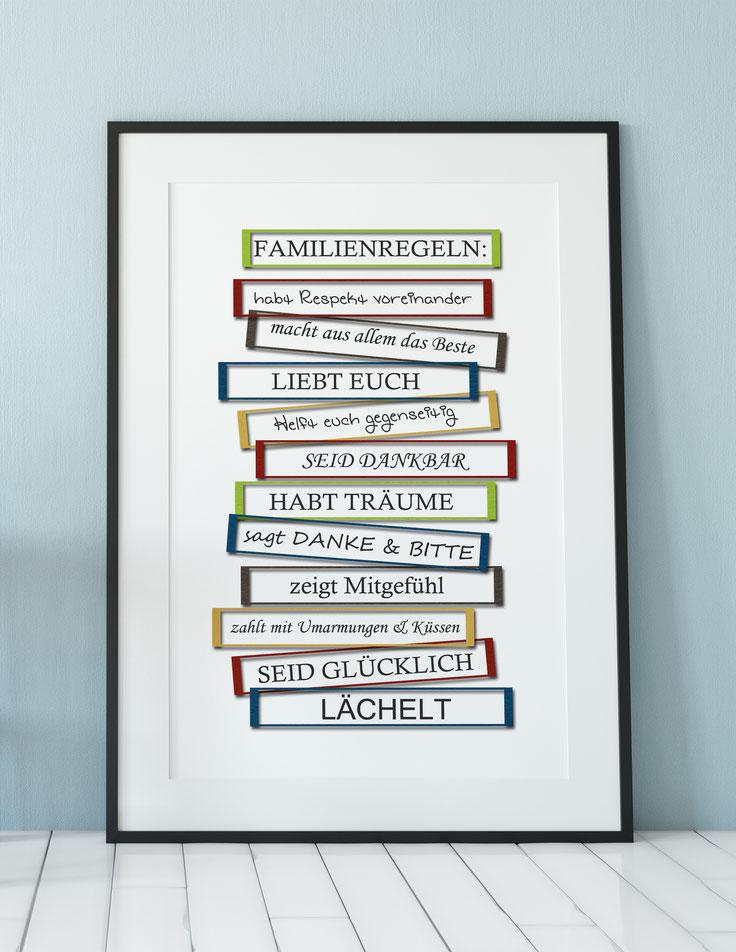 Wohndeko Kunstdruck Familienregeln
