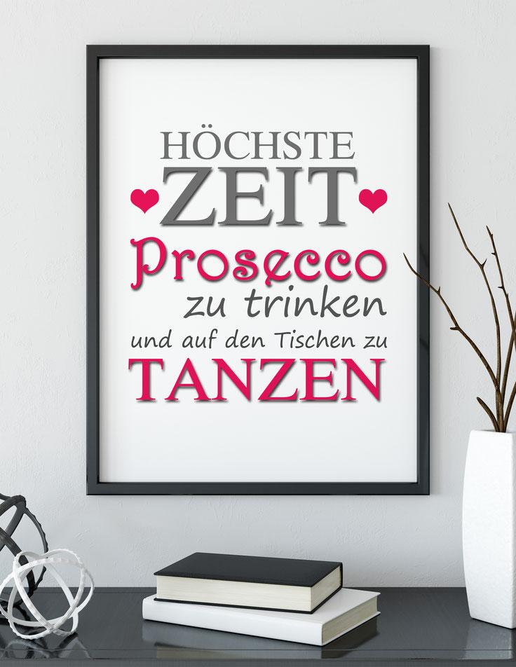 Wanddeko Kunstdruck Zeit Prosecco zu trinken