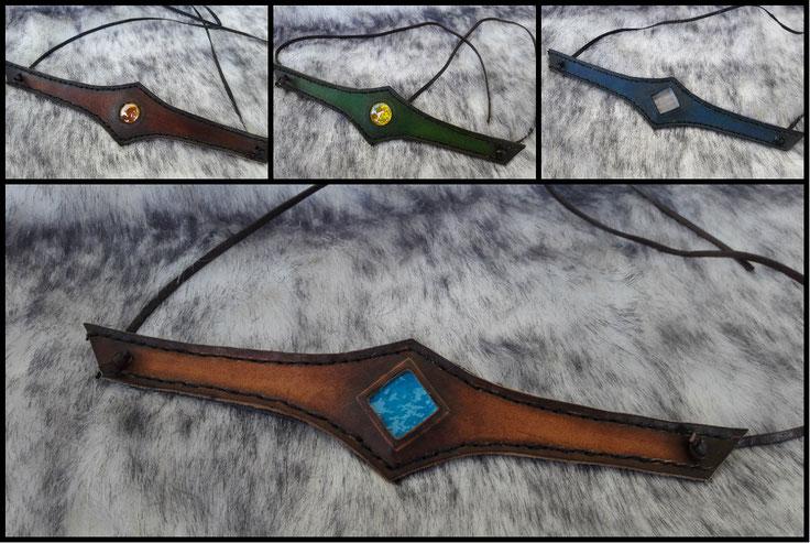 diadème collier cuir accessoire médiéval paraphernalia création
