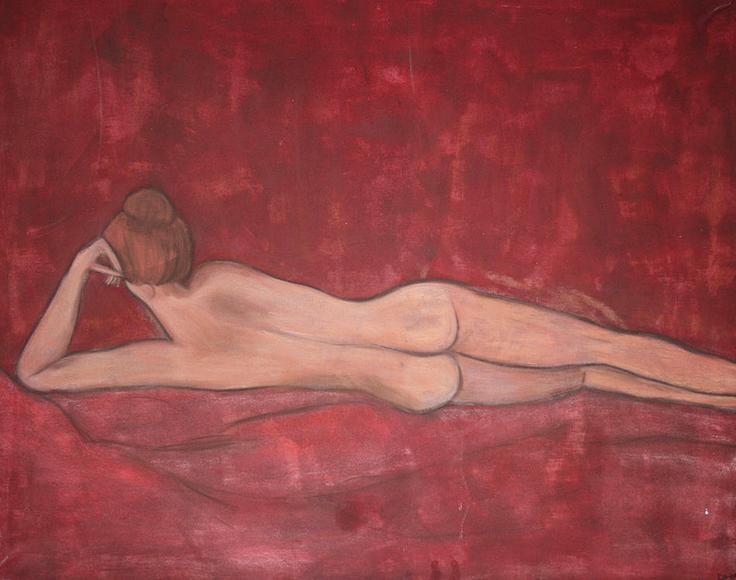Artigkeit, Claudia Karrasch, Bonn, Malen, Abstrakte Malerei, Kunst, Studio, Akt Red, Acryl, Pastellkreiden, auf Leinwand, ca. 100 X 120 cm
