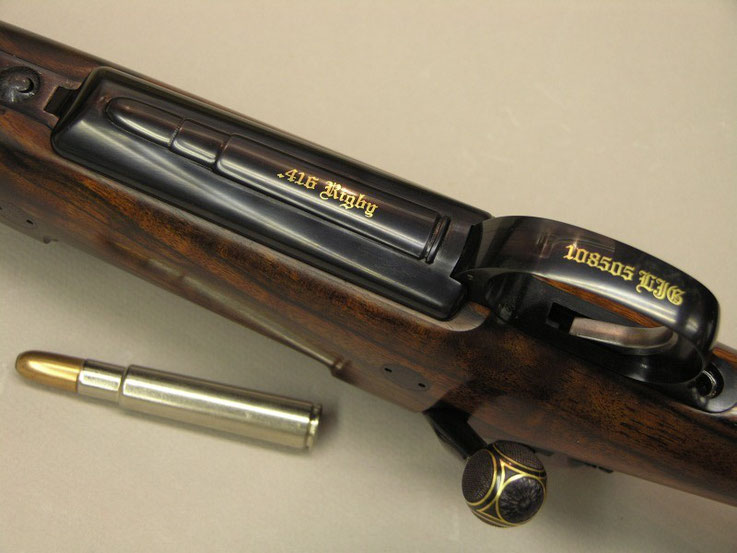 Inscriptions in Gold on a Mauser .416 Rigby Safari rifle
