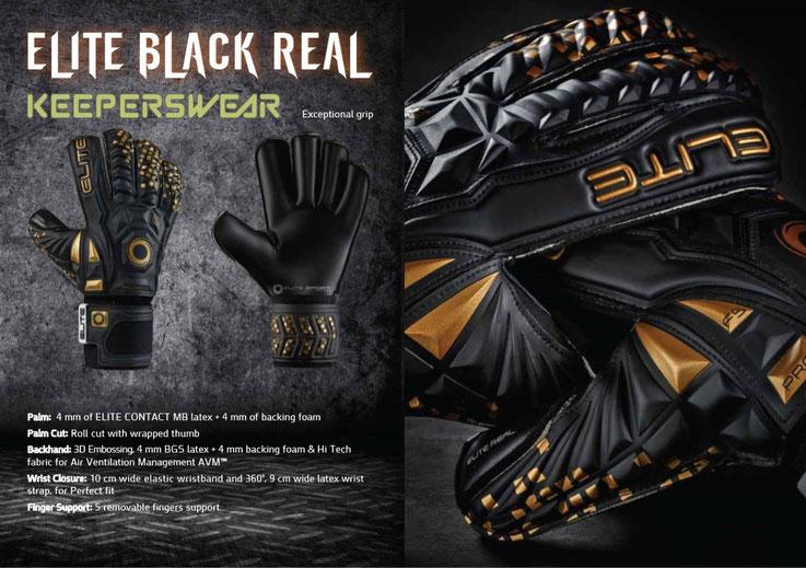 De verbeterde Elite Sport Black Real voetbal handschoen