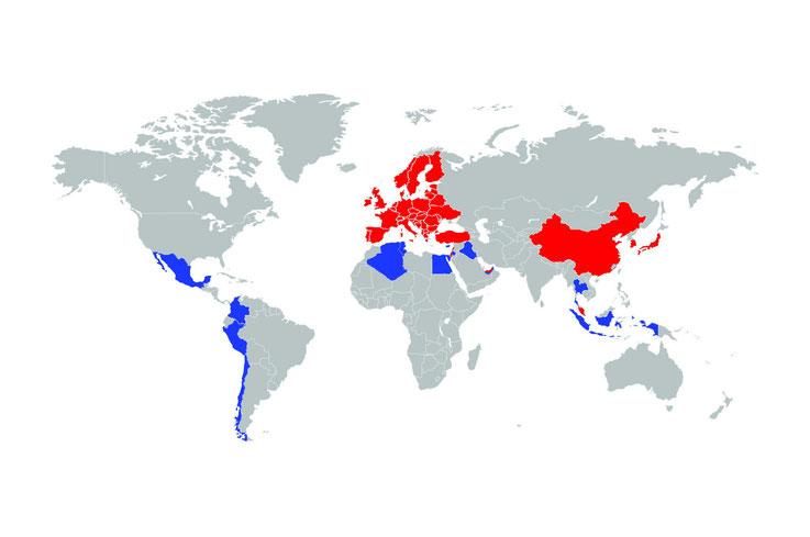 Regionen, in denen wir tätig sind: Cosmetics (Rot) und Pharmaceutical (Blau)